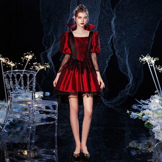 Vintage Średniowieczny Gotycka Czerwone Czarne Krótkie Sukienki Na Bal 2021 Princessa Kwadratowy Dekolt 3/4 Rękawy Zamek Błyskawiczny Się Z Koronki Tiulowe Bal Sukienki Wizytowe