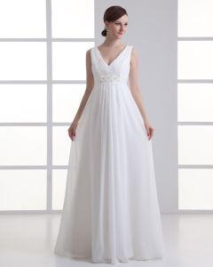 Chiffon Rüschen V-ausschnitt Bodenlangen Reich Hochzeitskleid