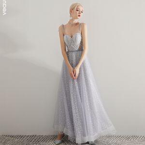 Sexy Lavendel Ballkleider 2019 A Linie Spaghettiträger Ärmellos Geflecktes Tülle Knöchellänge Rüschen Rückenfreies Festliche Kleider