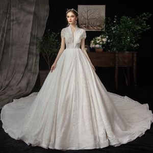 Best Champagne Lace Wedding Dresses 2020 A-Line / Princess See-through Deep V-Neck Short Sleeve Beading Pearl Sequins Cathedral Train Ruffle