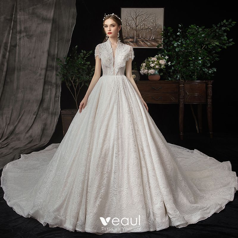 Wedding Gowns With Sleeves.Best Champagne Lace Wedding Dresses 2020 A Line Princess See Through Deep V Neck Short Sleeve Beading Pearl Sequins Cathedral Train Ruffle
