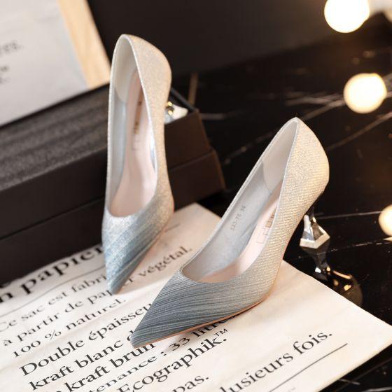 Mote Sølv Aften Pumps 2019 6 cm Stiletthæler Spisse Pumps