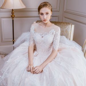 Elegant Champagne Wedding Dresses 2018 Ball Gown Lace Flower Beading Pearl Scoop Neck 1/2 Sleeves Cathedral Train Wedding