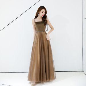 Hermoso Marrón Vestidos de noche 2019 A-Line / Princess Spaghetti Straps Sin Mangas Sin Espalda Largos Vestidos Formales