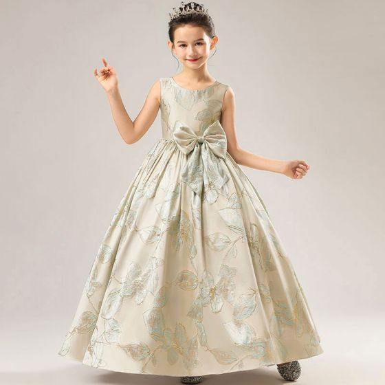 High-end Gold Satin Birthday Flower Girl Dresses 2021 Ball Gown Scoop Neck Sleeveless Bow Sage Green Embroidered Floor-Length / Long Ruffle