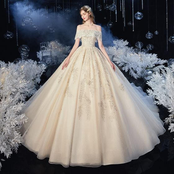 Chic / Beautiful Champagne Bridal Wedding Dresses 2020 Ball Gown Off-The-Shoulder Spaghetti Straps Short Sleeve Backless Appliques Lace Beading Glitter Tulle Cathedral Train Ruffle