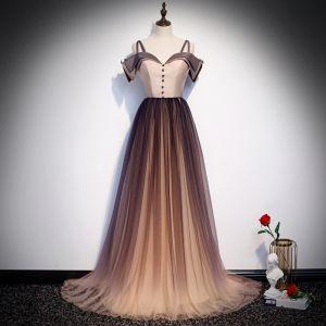Elegante Braun Farbverlauf Abendkleider 2020 A Linie Spaghettiträger Kurze Ärmel Sweep / Pinsel Zug Rüschen Rückenfreies Festliche Kleider