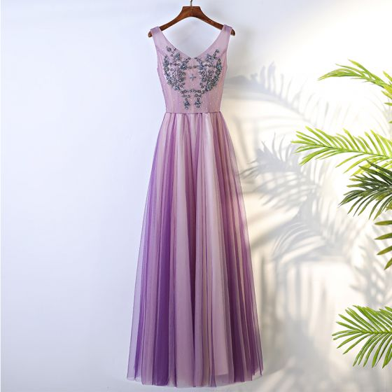 Chic / Beautiful Lilac Formal Dresses 2017 A-Line / Princess Lace Flower Beading Backless V-Neck Floor-Length / Long Evening Dresses