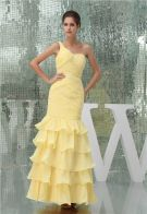 2015 Appealing Mermaid One Shoulder Pleated Cascading Ruffles Sequined Prom Dress