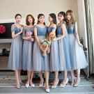 Chic / Beautiful Sky Blue Bridesmaid Dresses 2018 A-Line / Princess Rhinestone Sash Tea-length Ruffle Backless Wedding Party Dresses