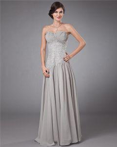 Chiffon Plissee Perlen Applique Schatz Bodenlangen Abendkleider