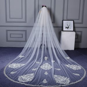 Amazing / Unique White Wedding Cathedral Train Appliques Lace Tulle Wedding Veils 2018