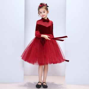 Chic / Beautiful Burgundy Suede See-through Flower Girl Dresses 2019 A-Line / Princess Bow High Neck Puffy 3/4 Sleeve Star Tulle Tea-length Ruffle Wedding Party Dresses