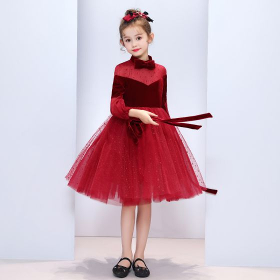 cf0b8b0060df Chic / Beautiful Burgundy Suede See-through Flower Girl Dresses 2019 A-Line  / Princess Bow High Neck Puffy 3/4 Sleeve Star Tulle Tea-length ...