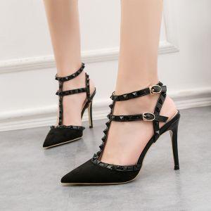 Mode Noire Soirée Rivet Sandales Femme 2020 T-Strap 10 cm Talons Aiguilles À Bout Pointu Sandales