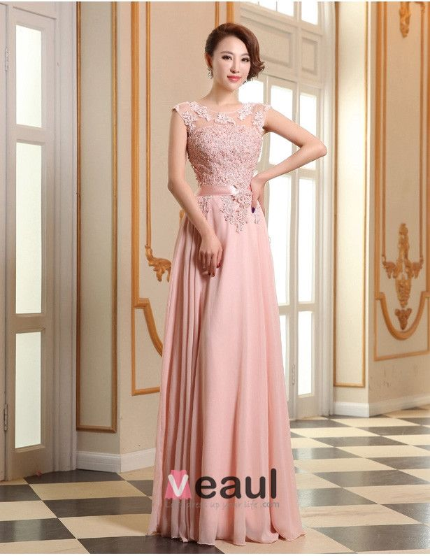2015 Pink Formal Dress A-Line Lace Evening Dress With Sash