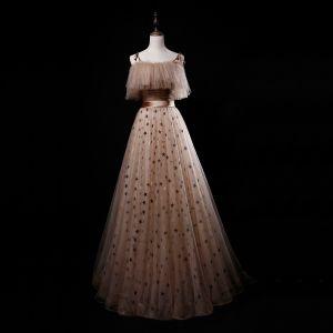 Best Khaki Evening Dresses  2019 A-Line / Princess Spaghetti Straps Sleeveless Sash Glitter Star Tulle Floor-Length / Long Ruffle Backless Formal Dresses