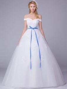 Elegante Brautkleider 2016 Weg Von Der Schulter Applique Kleid Hochzeitskleid Spitze Ball Mit Blauer Schärpe