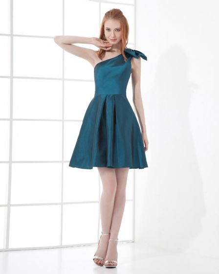 Fashion Taffeta Bow Sloping Thigh Length Bridesmaid Dress