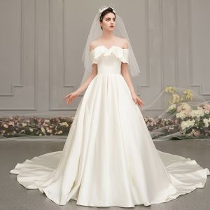 Modest / Simple Champagne Satin Wedding Dresses 2019 Princess Off-The-Shoulder Short Sleeve Backless Cathedral Train Ruffle
