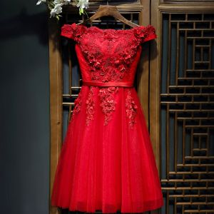 Chic / Beautiful Red Formal Dresses Evening Dresses  2017 Lace Artificial Flowers Flower Pearl Short Sleeve Short A-Line / Princess