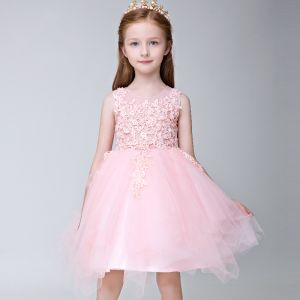 Chic / Beautiful Hall Wedding Party Dresses 2017 Flower Girl Dresses Blushing Pink Short Ball Gown Scoop Neck Sleeveless Flower Appliques Pearl