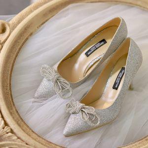 Glitzernden Silber Glanz Brautschuhe 2020 Leder Pailletten Strass 9 cm Stilettos Spitzschuh Hochzeit Pumps