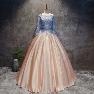 Chic / Beautiful Champagne Pearl Pink Sky Blue Prom Dresses 2017 Ball Gown Scoop Neck Long Sleeve Appliques Lace Flower Pearl Sash Floor-Length / Long Ruffle Pierced Backless Formal Dresses