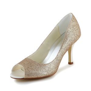 Sparkly Champagne Peep Toe Wedding Shoes Glitter Stilettos Pumps
