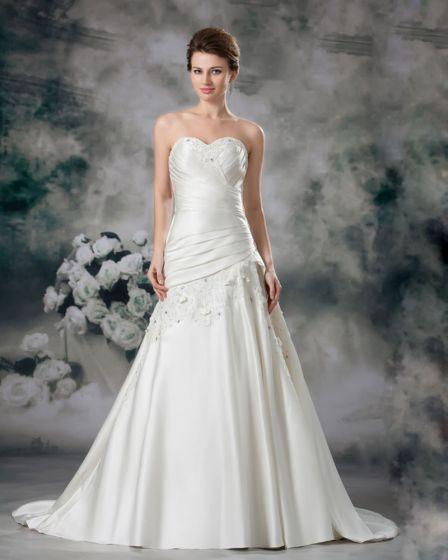 Satin Applikasjon Paljetter Gulv Lengde Kjaereste Kvinner En Linje Brudekjoler Bryllupskjoler