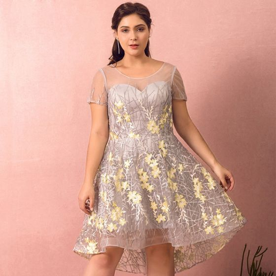 Flower Fairy Grey Plus Size Graduation Dresses 2018 A-Line / Princess Tulle  U-Neck Appliques Backless Embroidered Homecoming Formal Dresses