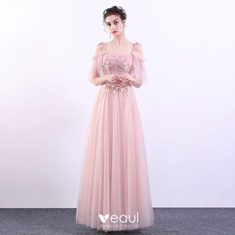 8390ff4f5 Elegantes Rosa Vestidos de gala 2019 A-Line   Princess Spaghetti Straps Con Encaje  Flor Perla Manga Corta Sin Espalda Largos Vestidos Formales