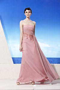 Bustier Longueur De Plancher De Perles Encolure Filament Empire Robe De Soirée Femme Composite
