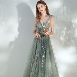 Hermoso Verde Salvia Vestidos de gala 2020 A-Line / Princess Hombros Sin Mangas Lentejuelas La altura del tobillo Ruffle Sin Espalda Vestidos Formales