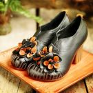 Chic / Beautiful 2017 6 cm Casual Cocktail Party Evening Party Outdoor / Garden Black Leather Ink Blue Summer Appliques Mid Heels Thick Heels Pumps