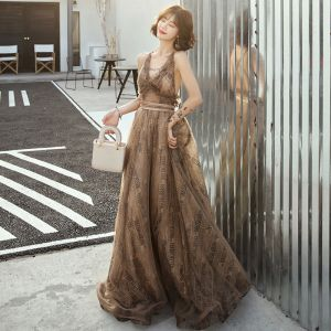 Sexy Brown Evening Dresses  2019 A-Line / Princess Deep V-Neck Sleeveless Sash Printing Tulle Sweep Train Ruffle Backless Formal Dresses