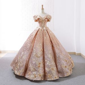 Sparkly Rose Gold Dancing Prom Dresses 2020 Ball Gown Off-The-Shoulder Short Sleeve Appliques Flower Beading Floor-Length / Long Ruffle Backless Formal Dresses
