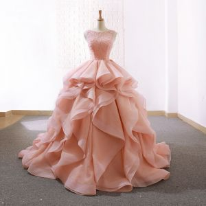 Elegant Pearl Pink Prom Dresses 2019 Ball Gown Scoop Neck Beading Sleeveless Backless Cascading Ruffles Court Train Formal Dresses