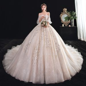 Elegant Champagne Wedding Dresses 2020 Ball Gown Off-The-Shoulder Puffy Short Sleeve Backless Appliques Lace Beading Cathedral Train Ruffle