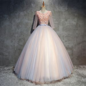 Chic / Beautiful Pearl Pink Prom Dresses 2018 Ball Gown Appliques Pearl Scoop Neck Backless 3/4 Sleeve Floor-Length / Long Formal Dresses