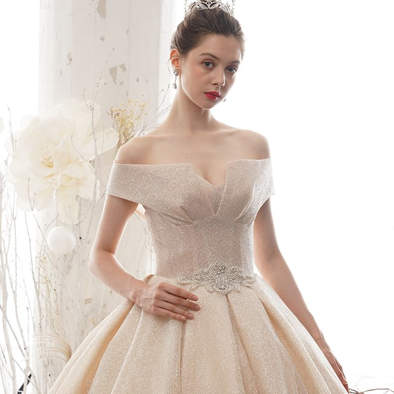 Luxury / Gorgeous Champagne Wedding Dresses 2020 A-Line / Princess Off-The-Shoulder Short Sleeve Backless Beading Glitter Tulle Cathedral Train Ruffle