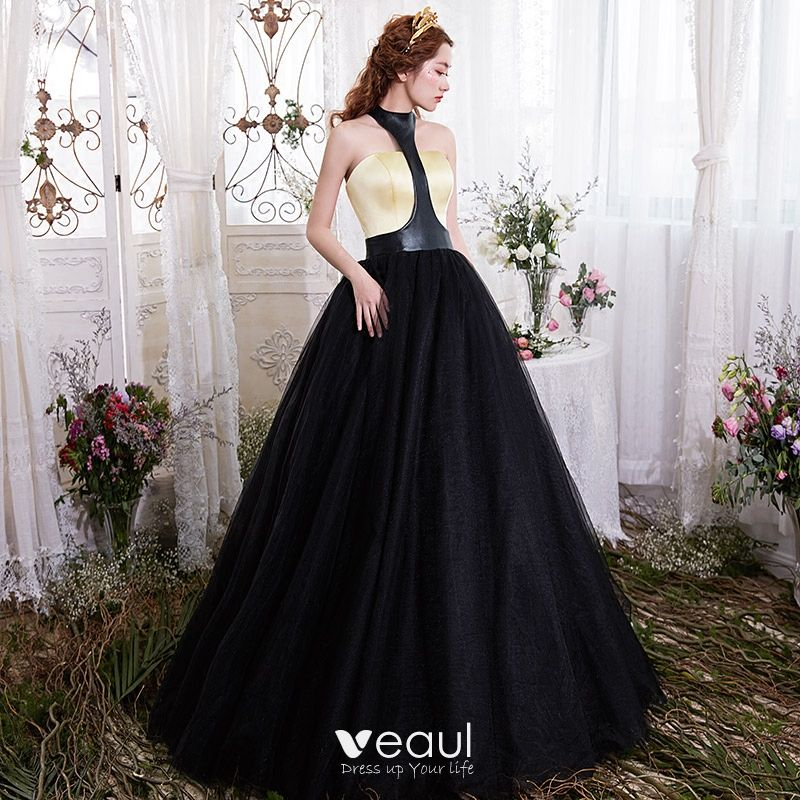 Black Gold Prom Dresses 2017 Ball Gown