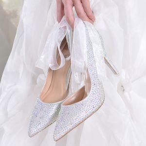 Scintillantes Argenté Faux Diamant Chaussure De Mariée 2017 À Bout Pointu Cuir Perlage Escarpins Talons Hauts 9 cm