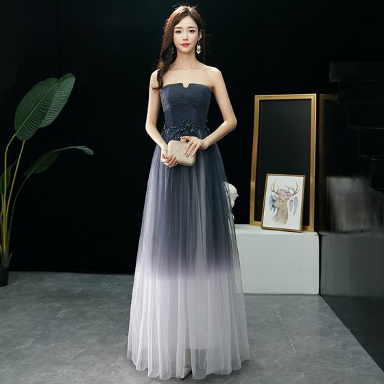 Modern / Fashion Navy Blue Gradient-Color Ivory Prom Dresses 2019 A-Line / Princess Strapless Sleeveless Beading Floor-Length / Long Ruffle Backless Formal Dresses