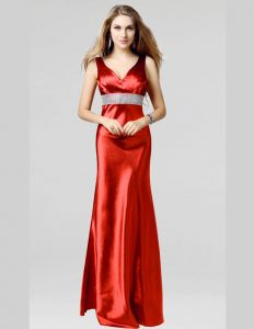 2015 Shoulders V Neck Floor Length Rhinestone Sash Satin Evening Dresses