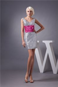 Sparkly Cocktail Dress With Sash Silver Sequin Short Party Dress