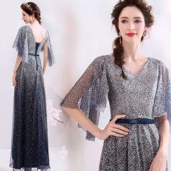 Sparkly Navy Blue Gradient-Color Evening Dresses  2019 A-Line / Princess V-Neck Sequins Bow 1/2 Sleeves Backless Floor-Length / Long Formal Dresses