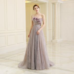 Chic / Beautiful Grey Evening Dresses  2018 A-Line / Princess Strapless Sleeveless Artificial Flowers Sash Court Train Ruffle Backless Formal Dresses