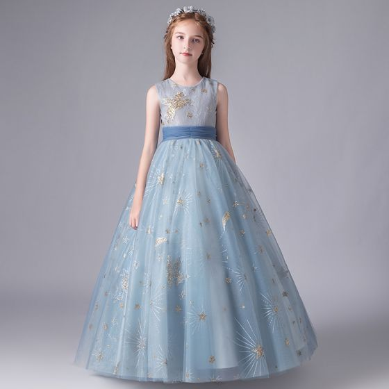 Chic / Beautiful Sky Blue Birthday Flower Girl Dresses 2020 A-Line / Princess Scoop Neck Sleeveless Appliques Sequins Bow Sash Floor-Length / Long Ruffle