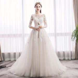 Elegant Ivory Wedding Dresses 2019 A-Line / Princess Scoop Neck Sequins Lace Flower 1/2 Sleeves Backless Sweep Train